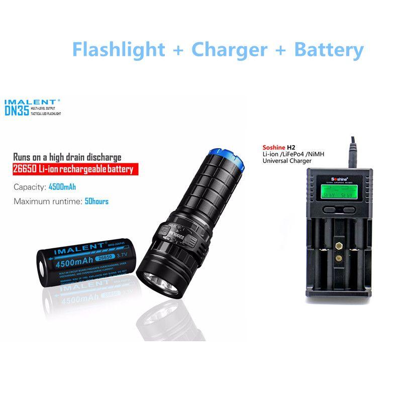 Taktische taschenlampe IMALENT DN35 max. 2200LM XHP35 HALLO FÜHRTE strahl werfen 596 Mt taschenlampe mit 4500 mAh 26650 batterie + Soshine H2 ladegerät