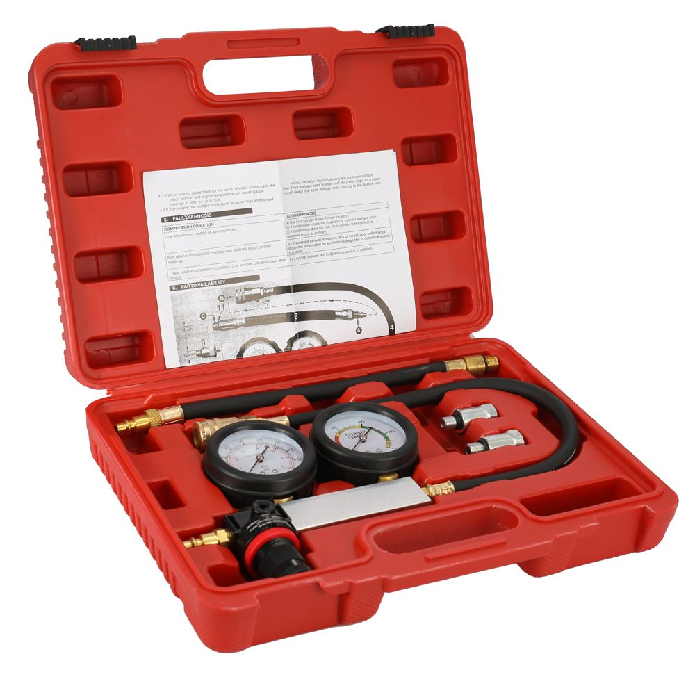 B Compression Leakage Detector Kit Set Auto Cylinder Leak Tester Petrol Engine Gauge Tool Kit Double Gauge System with Case