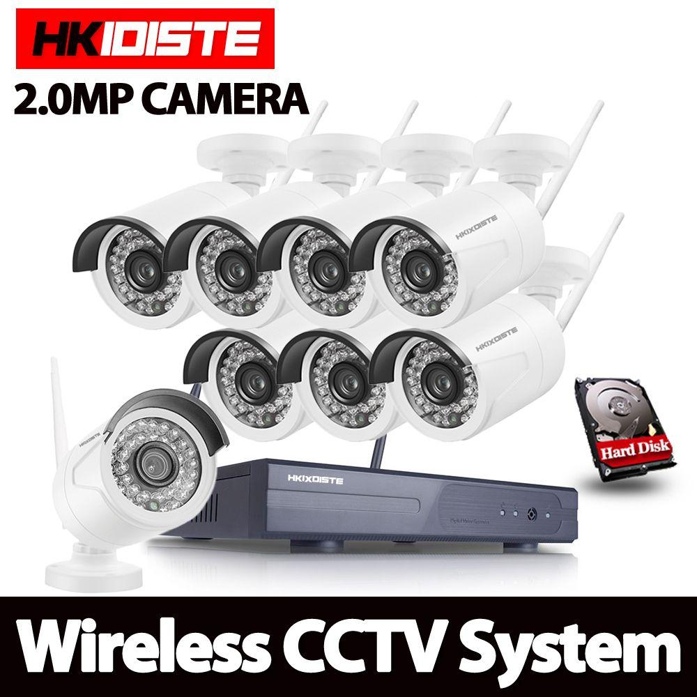 Full HD 8CH 1080 P Wireless NVR CCTV System 2MP 1080 P Wifi Ip-kamera Wasserdicht Tag/Nacht Sicherheit kamera Video Surveillance Kit