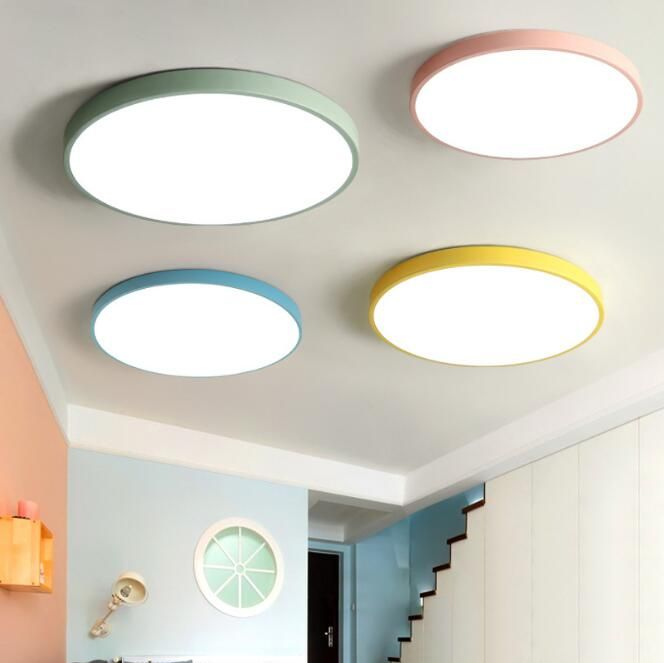 Creative Ultra-thin Macaroon Circular LED Ceiling Lamp Candy Color Children's Room Light Kitechen Bedroom Study Ceiling Lights