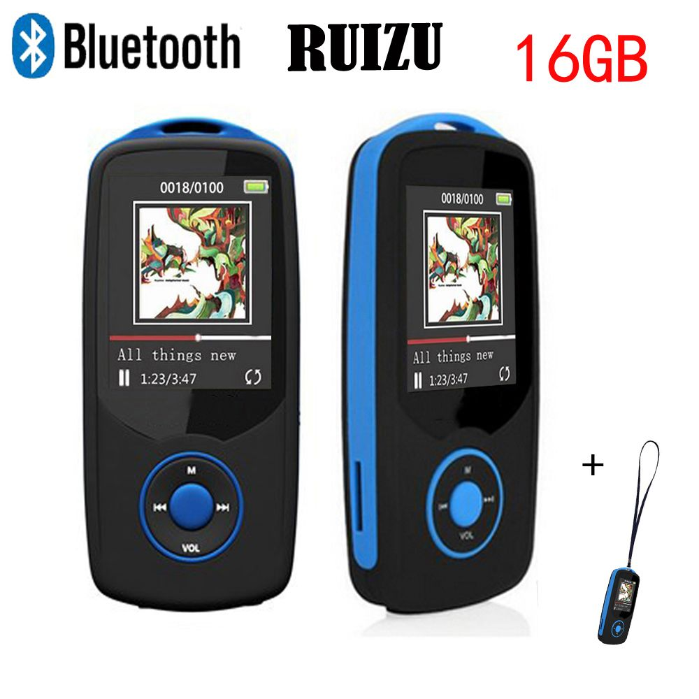 Original RUIZU Mp3 Player With Bluetooth 4.0 16gb Sport Digital Sound MP3 Music Player Video Player FM Radio Lanyard Gift X06