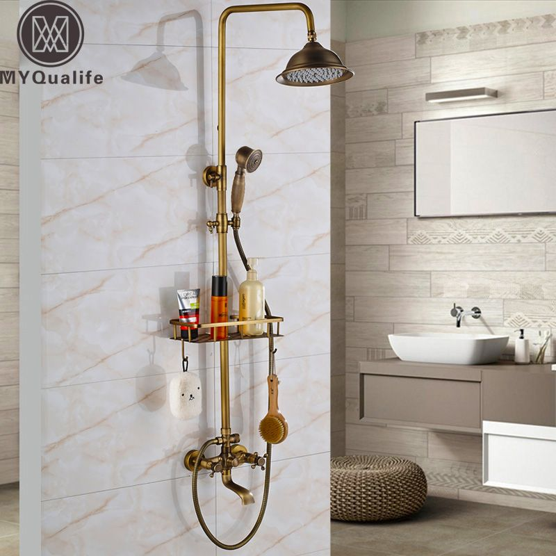 Retro Style Bathroom Shower Set Faucet W/ Commodity Shelf Hooks Antique Brass Bath Shower Mixer Tap Dual Handles Wall Mounted