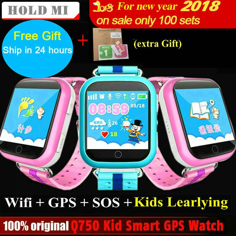 Hold Mi GPS Smart Watch Q750 Q100 Baby GPS Smart Watch With Touch Screen SOS Call Location Device Tracker for <font><b>Kid</b></font> Safe PK Q80