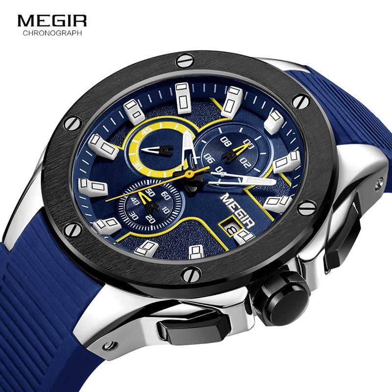 Top luxury Brand Men's Chronograph Sports Watches Analog Quartz Wrist Watches Date Silicone Strap Blue Black Fashion
