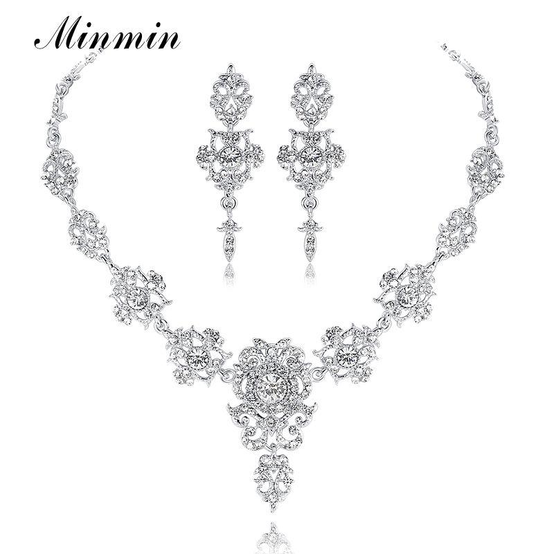 Minmin classique cristal bijoux de mariée ensembles argent/or couleur collier ras du cou boucles d'oreilles ensembles bijoux de mariage pour les femmes MTL432