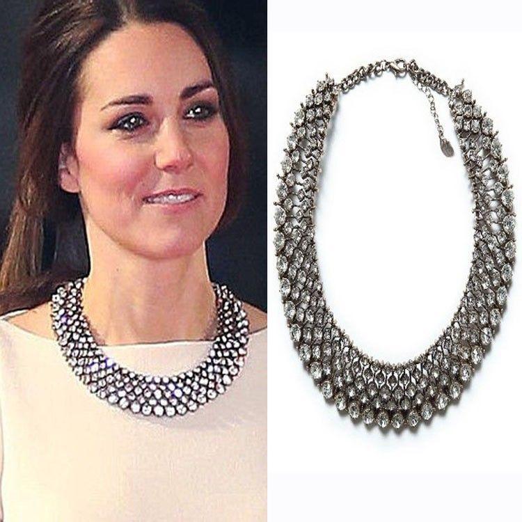 2019 nouveau collier Kate Middleton colliers et pendentifs mode luxe ras du cou design cristal pendentif collier déclaration bijoux