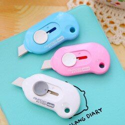 Cute Safe Utility Knife Plastic Protective Shell Creative Mini Stationery Kawaii Utility Knife For Kids Office School Supplies