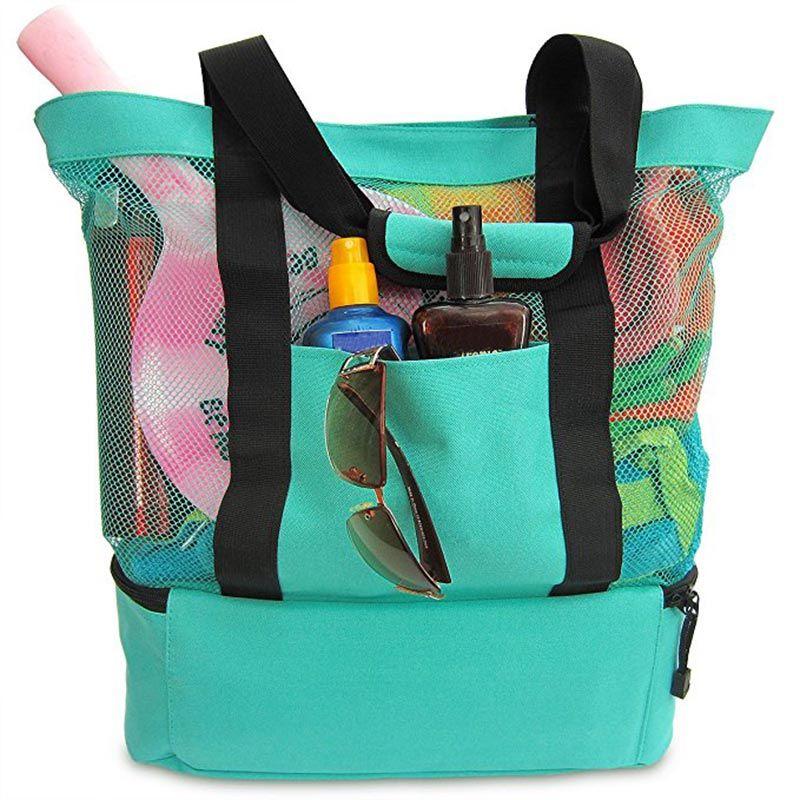 Nouvelle grande capacité en plein air Portable isotherme sac alimentaire pique-nique plage maille sacs avec fermeture éclair sac à main étanche sacs de rangement