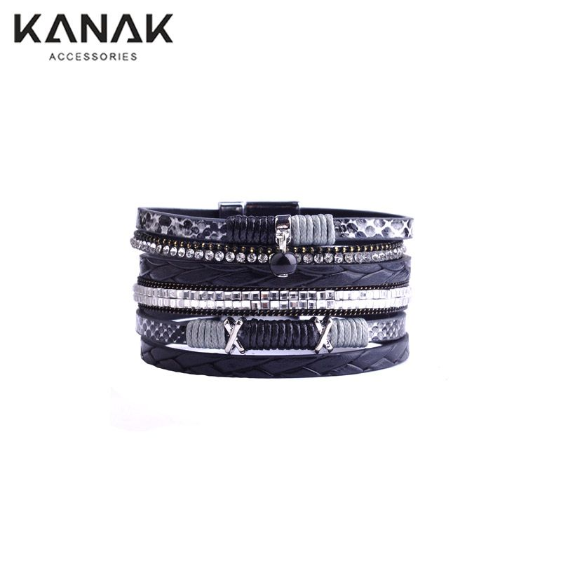 Multilayer Beads Drop Leather Bracelet  Brazilian Beach Magnet Buckle Boy Friend gift Bracelets Boho Jewelry