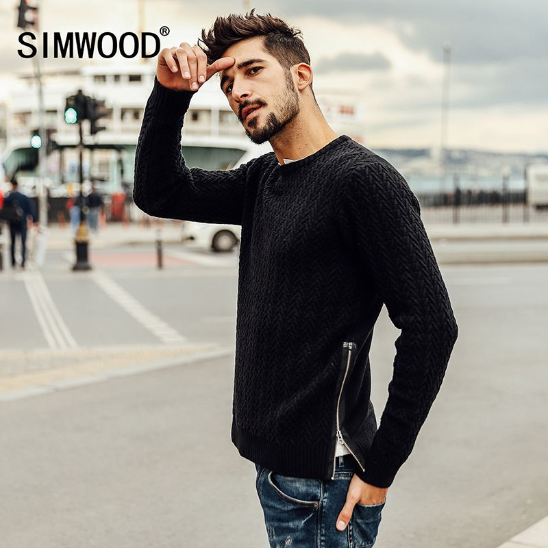 SIMWOOD 2017 new autumn winter sweater men fashion pullovers o neck slim fit brand clothing kintted MY2053