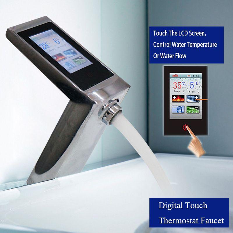 JMKWS Luxus Touchscreen Thermostat Becken Waschbecken Armaturen Smart Display Wasser Fluss Und Temperatur Touch Waschbecken Mixer Saving