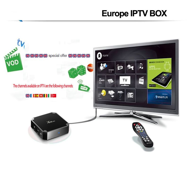 1 Year UK Franch France Italy Italia Spain Europe Adult Sport Iptv Subscription Box X96mini Android tvbox m3u code Abonnement