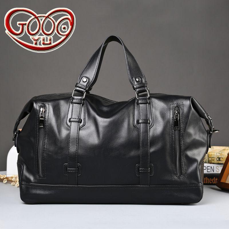 Men's thick PU leather high-capacity business bag leather travel bag bag fashion men's short-distance travel bag