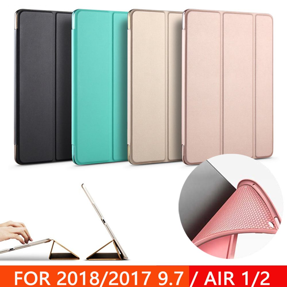Coque pour nouvel iPad 9.7 pouces 2017 2018 Air 1 Air 2 Funda souple silicone fond arrière PU cuir couverture intelligente Auto sommeil