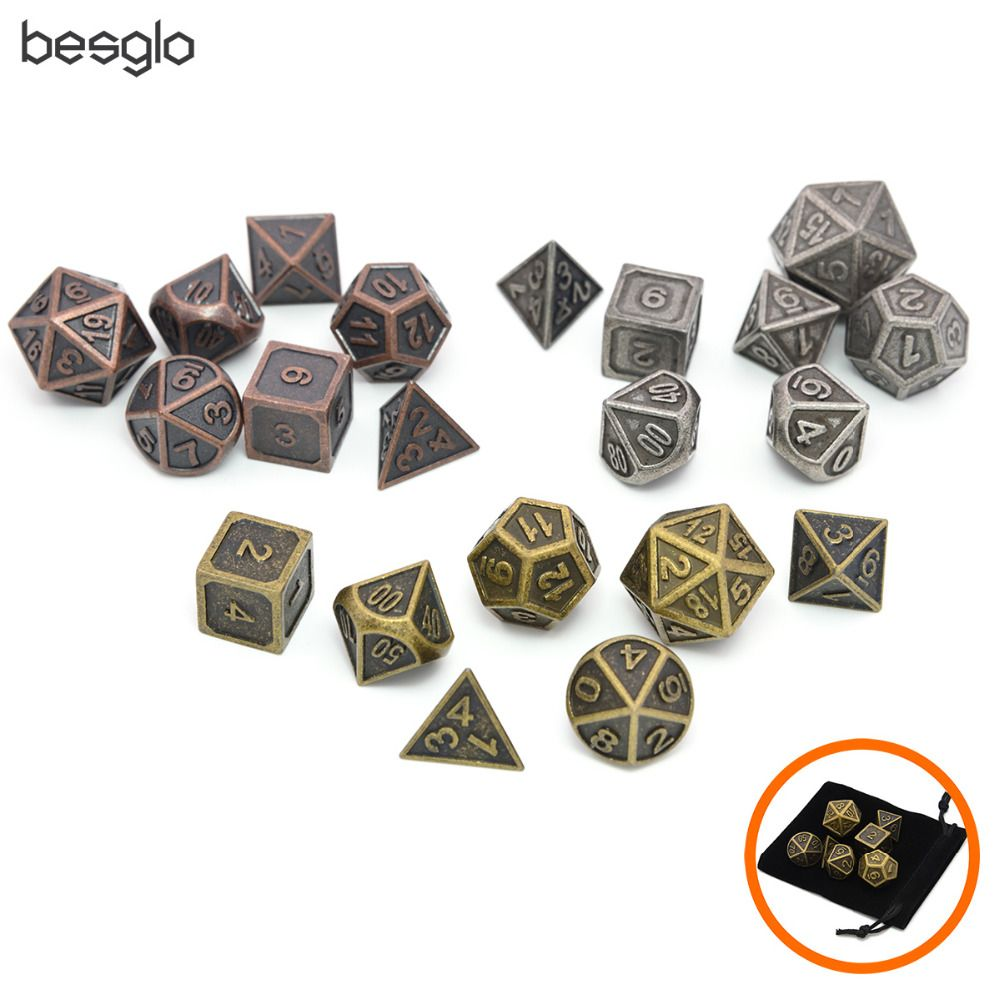 Solid Metal Polyhedral DnD Dice Set of 7 Ancient Copper Gold Silver Metal RPG Role Playing Game Dice with Dice Bag