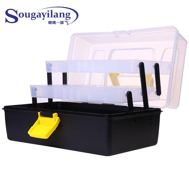 Sougayilang 3 Layer 30*18*15CM Big Fishing Box Strong Plastic Multifunctional Fishing Tackle Box Fishing Tool Case