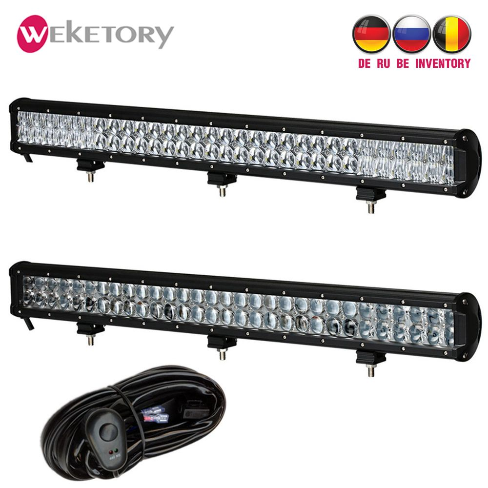 weketory 28 inch 300W 4D 5D LED Work Light Bar for Tractor Boat OffRoad 4WD 4x4 Truck SUV ATV Combo Beam with Switch Wiring