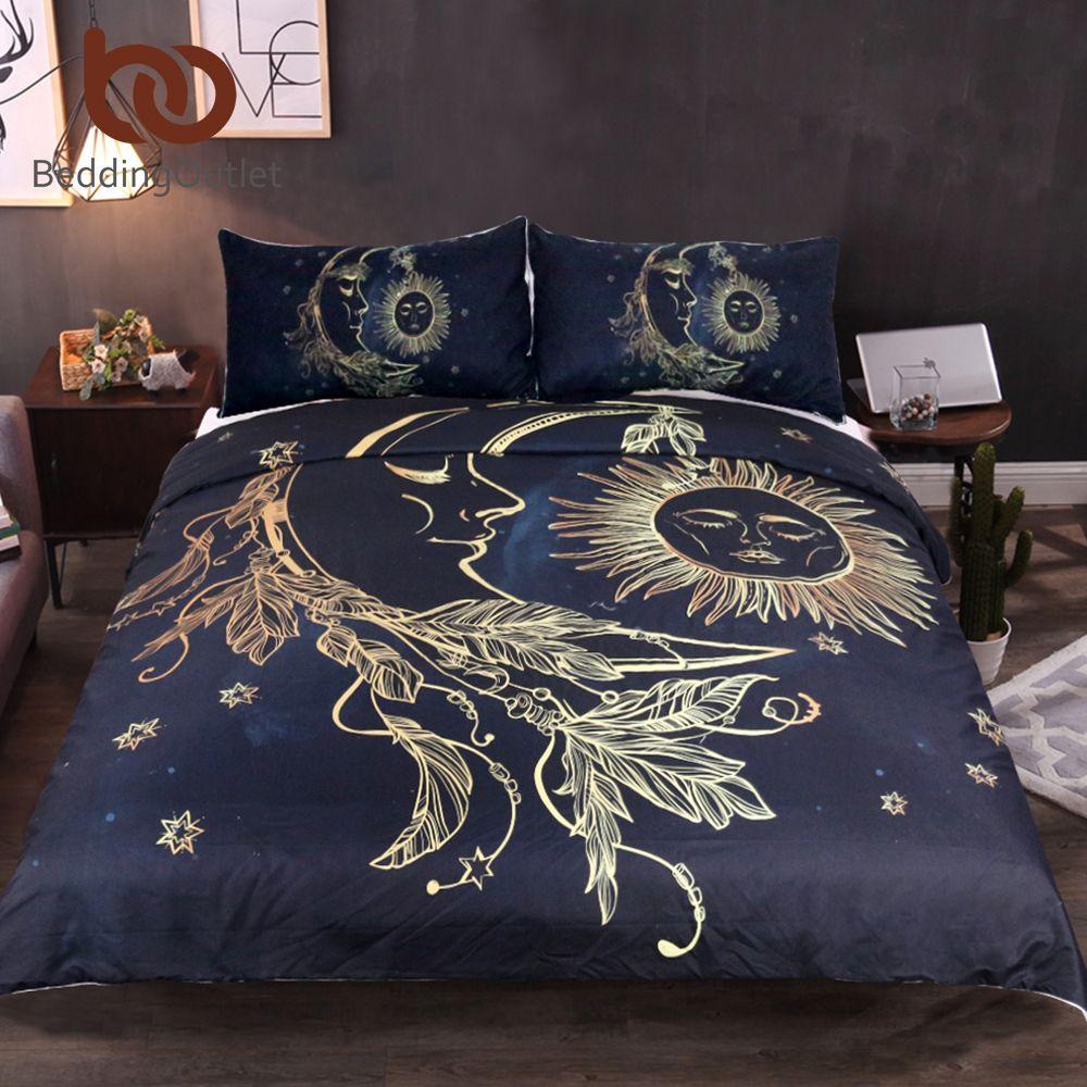 BeddingOutlet 3 Pieces Gold Moon Accompanys Sun Duvet Cover With Pillowcase Black Dark Blue Bedding Set King Size Quilt Cover