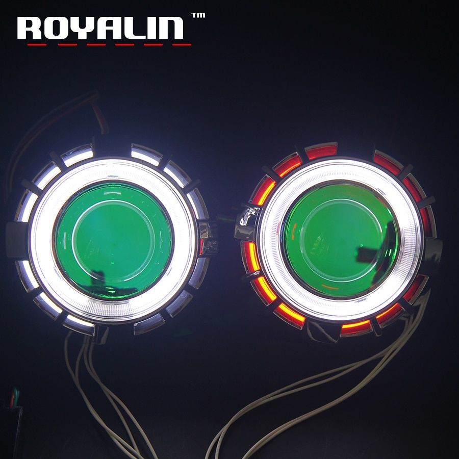 ROYALIN Car Double CCFL Diode Angel Eyes Projector Headlight Lens H1 Bi Xenon Mini Demon Eyes DRL H4 H7 Motorcycle Lamp Retrofit