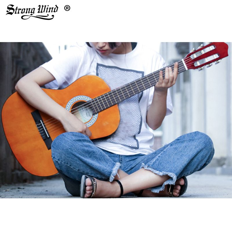 Strong Wind 3/4 Size Classical Acoustic Guitar 36 Inch Acoustic Basswood Guitarra Beginner Guitar Yellow with Bag Tuner Strings