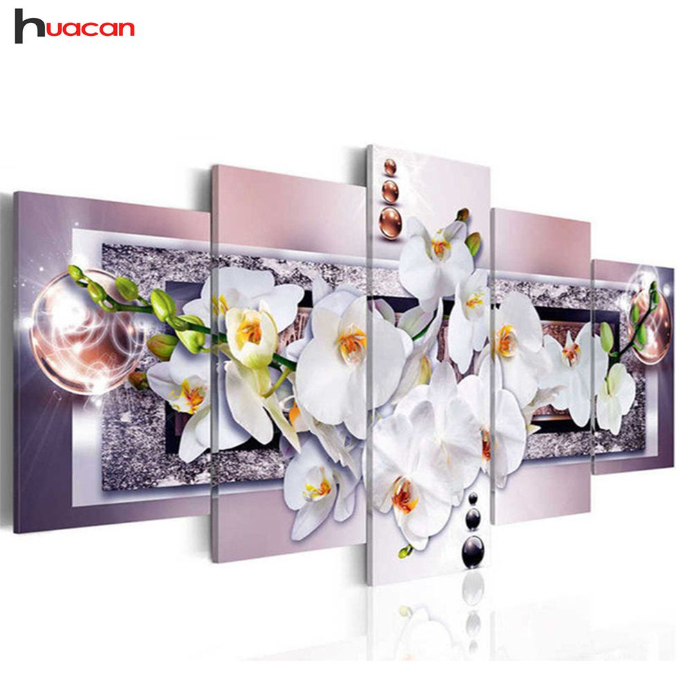 Huacan 5D DIY Full Square Diamond Painting orchid flower Multi-picture <font><b>Combination</b></font> Embroidery Cross Stitch Mosaic Decor