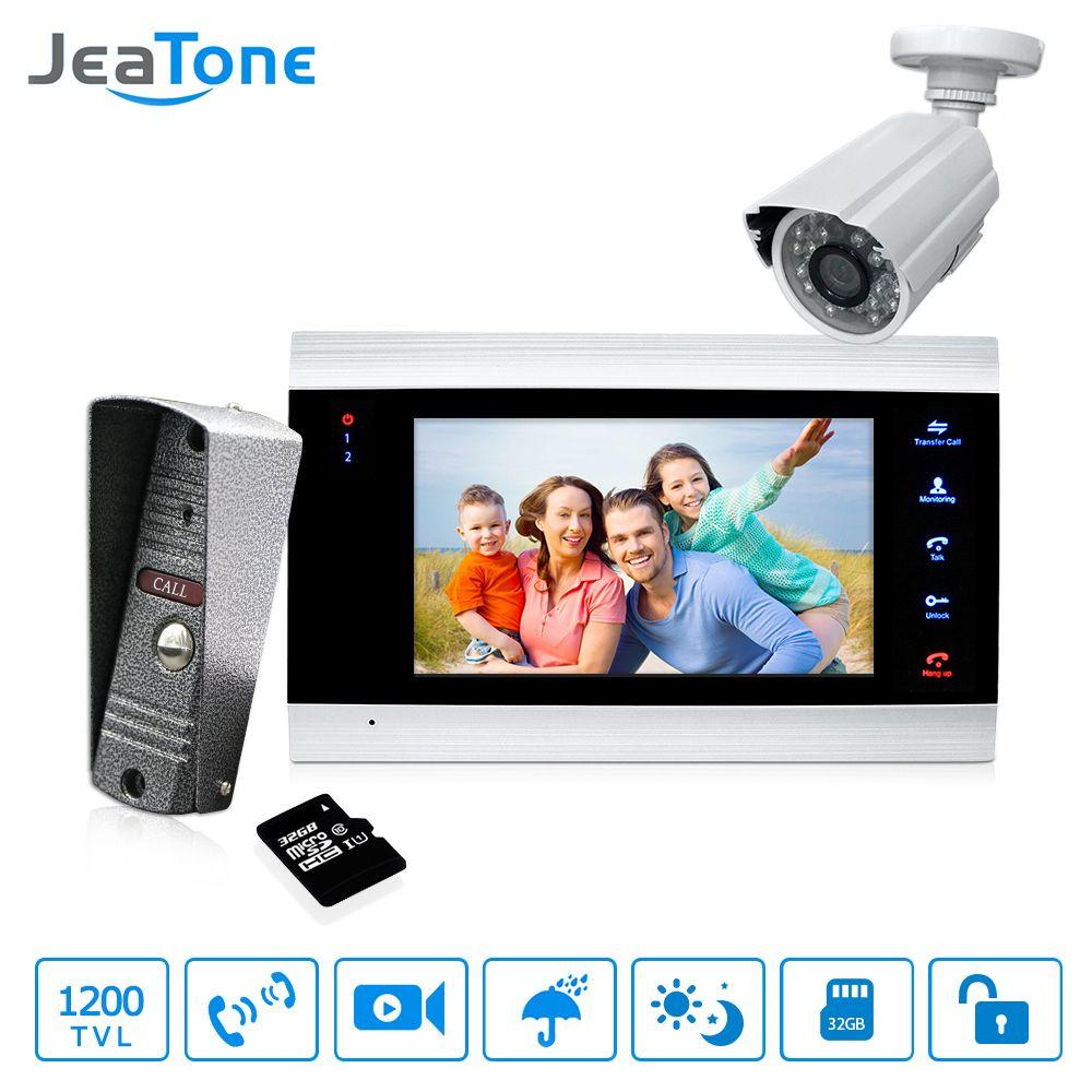 7'' Video Door Phone Doorbell Intercom With 1200TVL Outdoor Camera & 32G Card IP65 Door Phone Intercom System Motion Detection