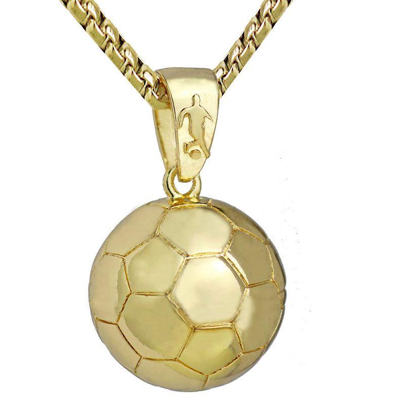 3D Football Soccer Collar Bola Deportes Colgante Joyas de Oro Collar de Cadena de Serpiente de Acero Inoxidable Hombres Deportes Atletismo 23in