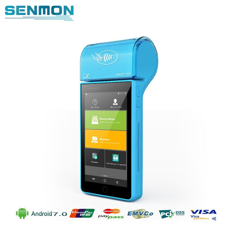 SENMON Mobile Handheld Android Retail POS System with Receipt Printer MSR NFC RFID 4G WIFI