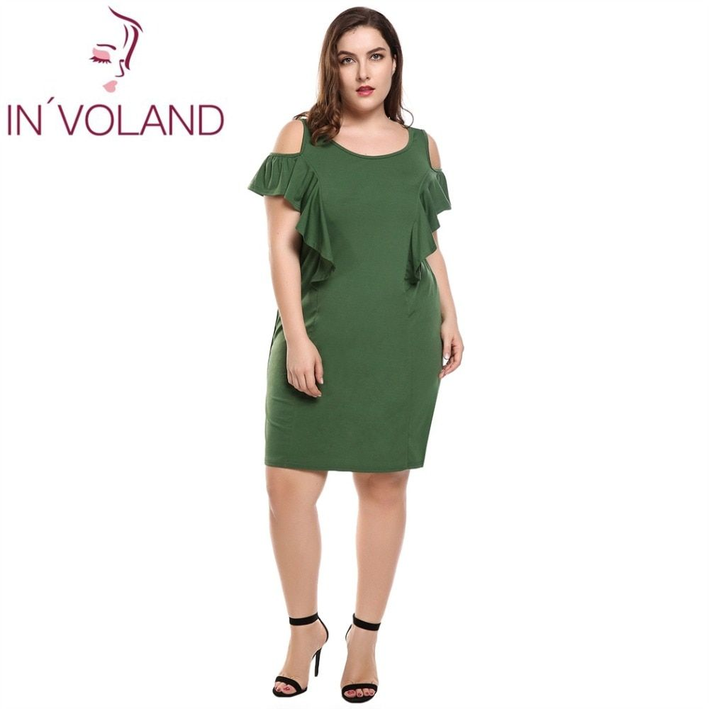IN'VOLAND femmes robe grande taille sans manches épaule froide volants solide décalage débardeur crayon robes Feminino Vestidos surdimensionné 4XL