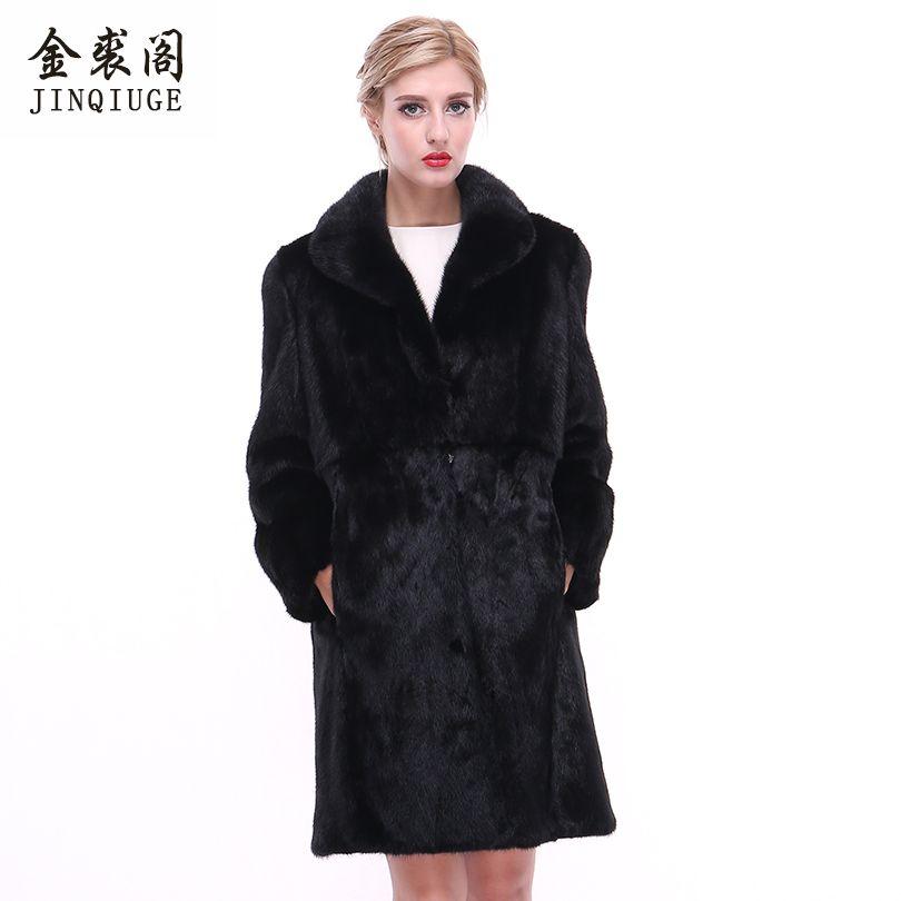 JINQIUGE Brand Fur Coat Real Mink Coats For Women Long Medium Type Turn Down Collar Mink Fur Coat Natural Genuine Mink Fur coats