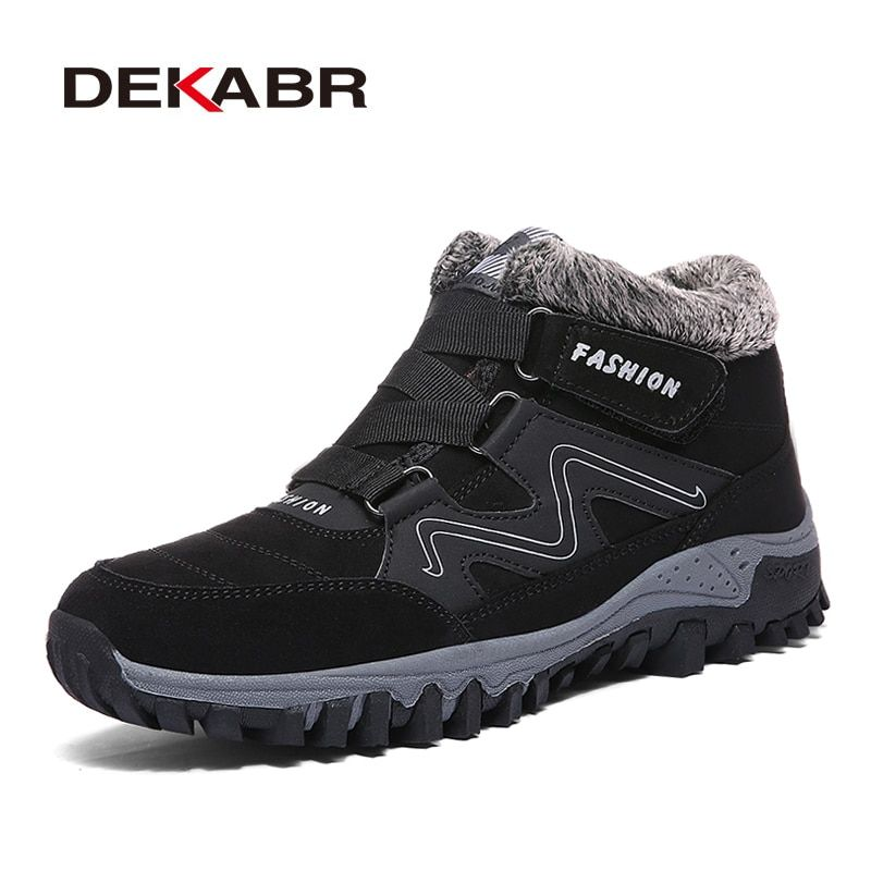 DEKABR Men Boots Winter With Fur 2019 Warm Snow Boots Men Winter Boots Work Men Footwear Fashion Safety Ankle Shoes 35-47