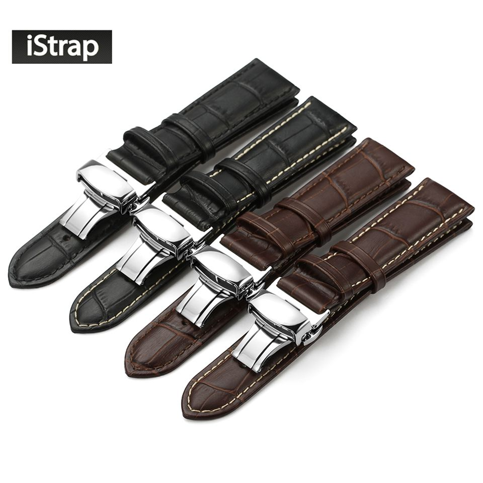 IStrap Véritable Bracelet En Cuir Avec Boucle Papillon Bandes Croco Grain Bracelet pour montre de taille en 14 16 18 19 20 21 22 24mm