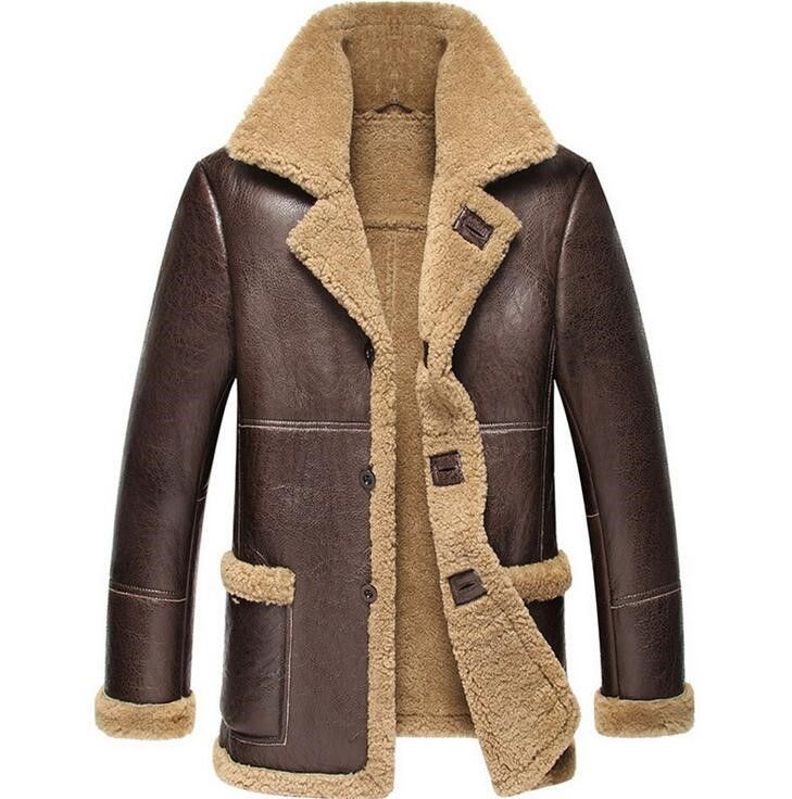 2018 New Men Sheepskin Leather Winter Jacket Think Warm Fur One Men's Motorcycle Genuine Leather Coat Real leather jacket men