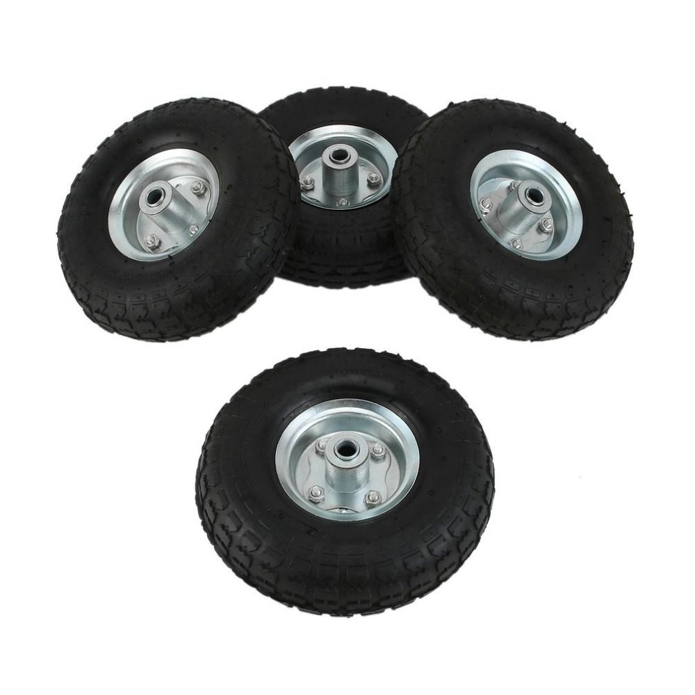4pcs Rubber 10 Inch Pneumatic Sack Inflatable Truck Trolley Wheel Barrow Tyre Wheels Unicycle Cart Tire 4.10/3.5-4.0