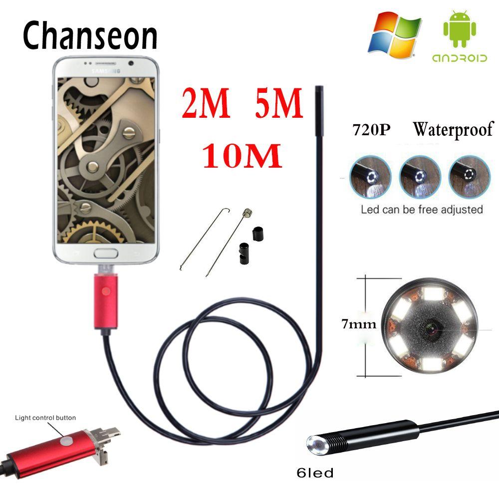 Endoscope 7mm HD 2 m 5 m 10 m USB Android 2 en 1 adaptateur Tube d'inspection téléphone Endoscopio caméra OTG IP67 Endoskop étanche