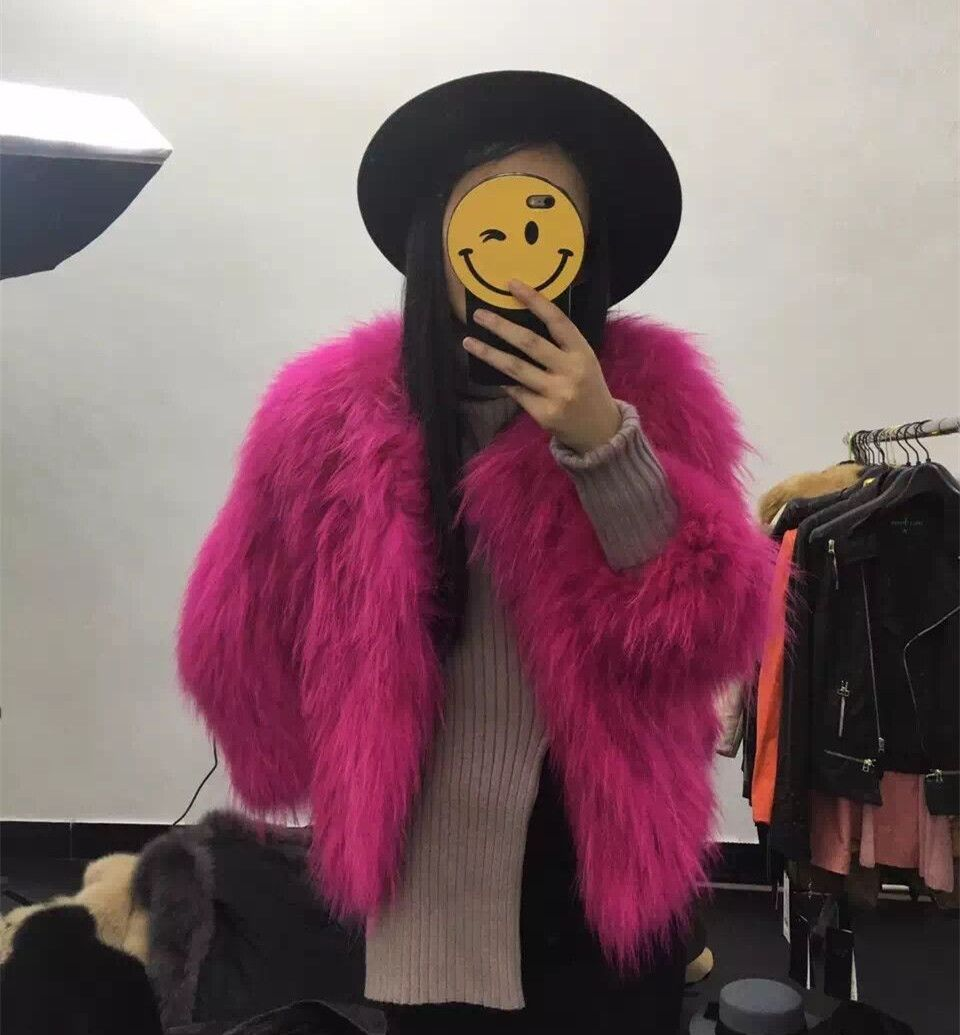 High Quality Real Raccoon Fur Knitted Coat Casual Round Collar Women's Short Winter Jacket