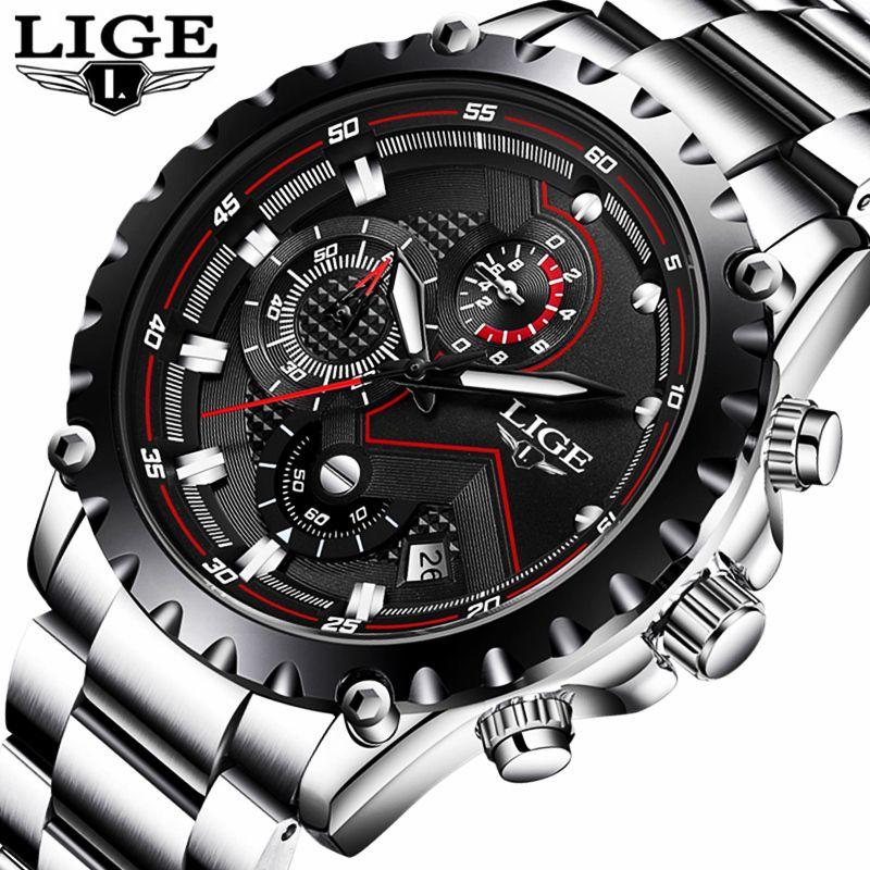 LIGE Sport Men Watch Men Quartz Wristwatch Waterproof Shockproof Steel Band Black Army Male Clock Relogio Masculino Hodinky 46