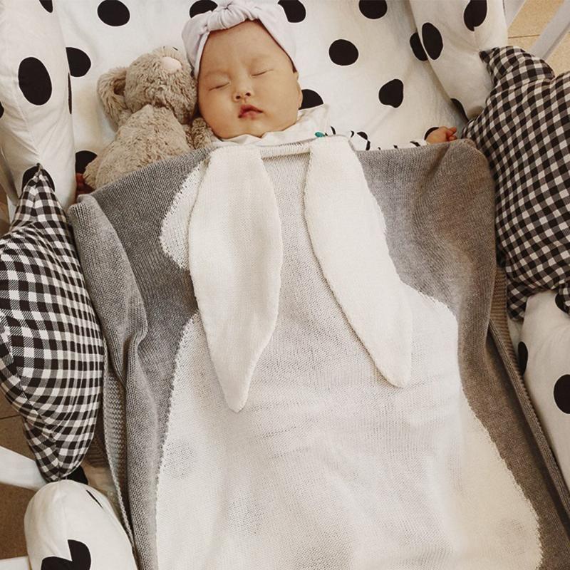 Детские зимние Одеяло Обёрточная бумага мягкая Постельные принадлежности кролик Одеяла новорожденных Большой Кролик уха пеленать детей О...