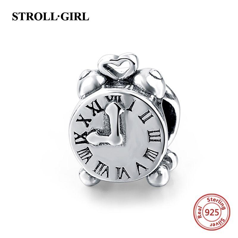 925 Sterling Argent Rome Numérique Horloge Charme Perle Fit Original pandora Bracelet Berloques Authentique Pendentif BRICOLAGE Bijoux Cadeaux
