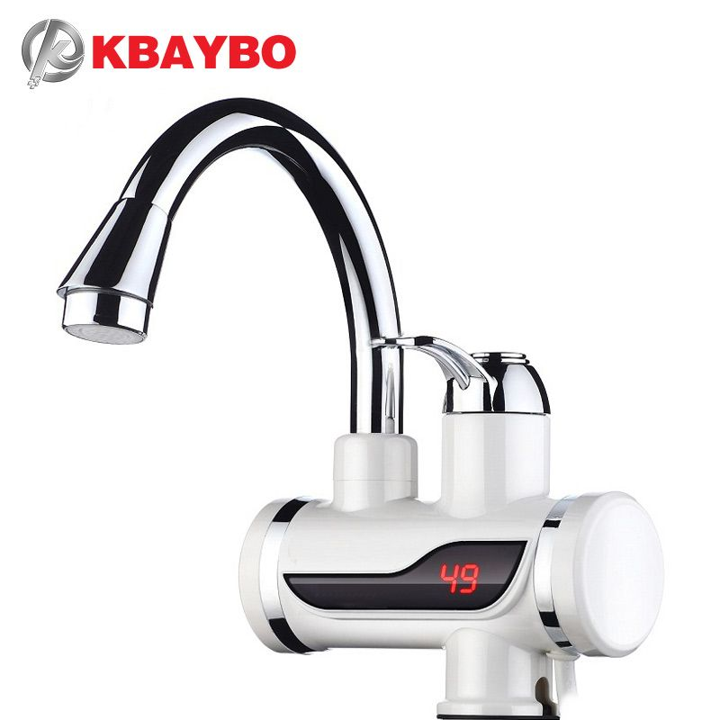 3000W Instant Water Heater Crane Temperature Display Water Heater Electric Hot Water Tankless Heating Bathroom Kitchen Faucet