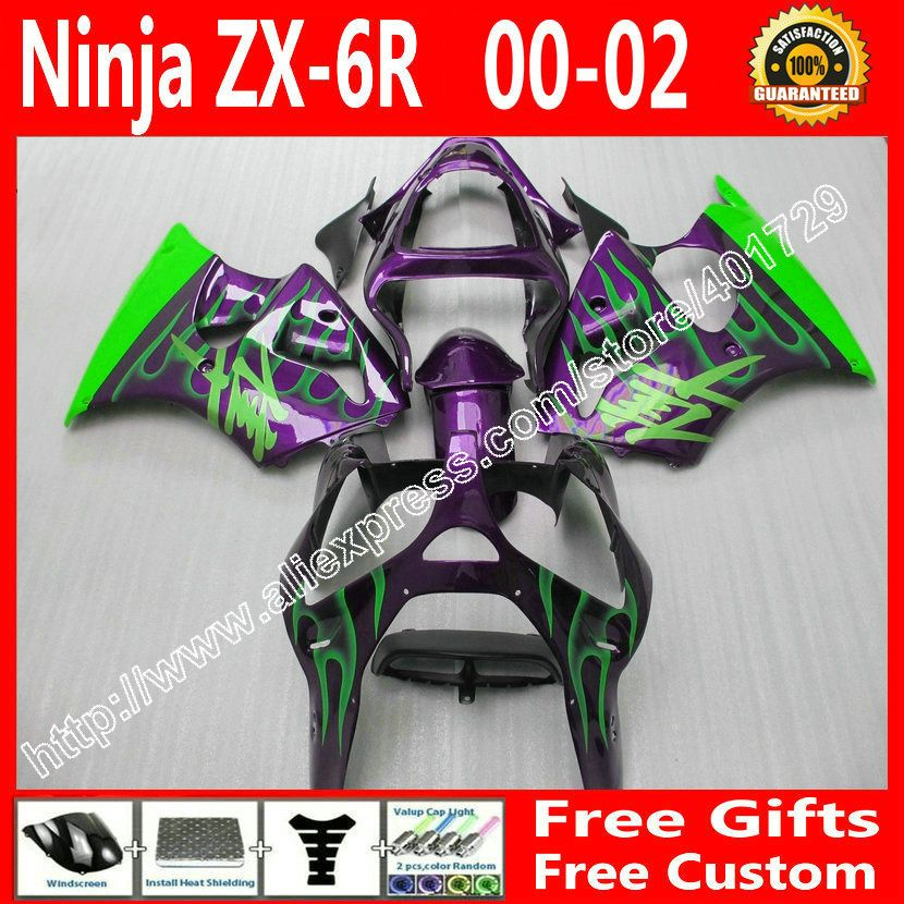 ABS plastic Fairings for Kawasaki ZX6R 636 2000 2001 2002 parts 00 01 02 purple green flames kit KL23