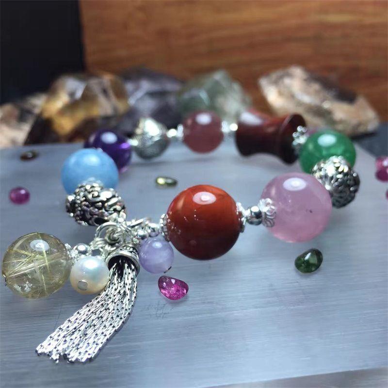 TYME Natural crystal bracelet treasure hand string silver Semi-precious stones original design fashion gold color bracelet woman