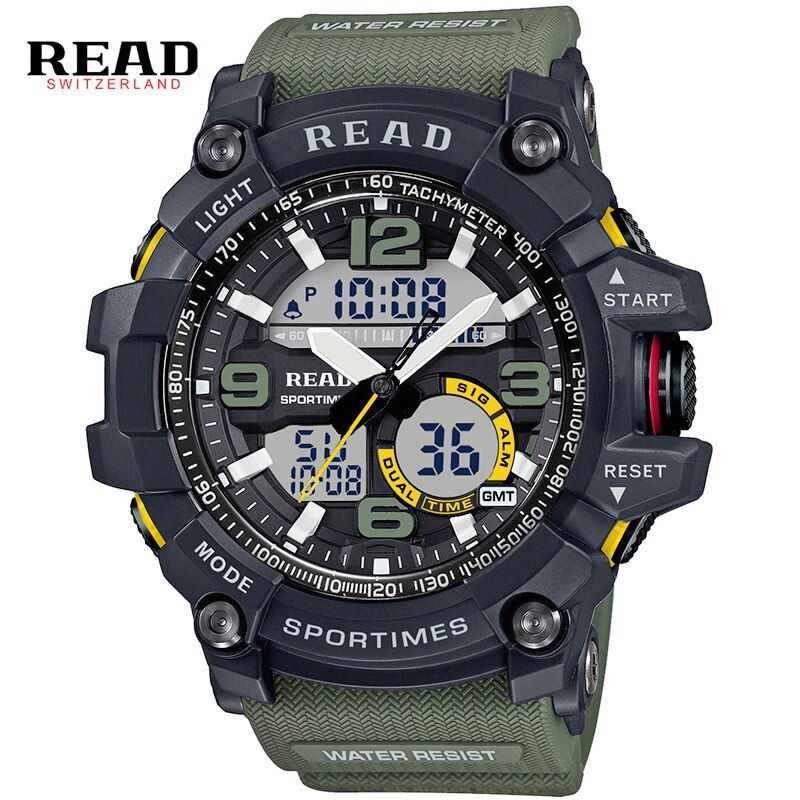 READ sport Military Army watches for men Dial Large Digital Scale buckle Relogio silicone strap Back Light Alarm hours stopwatch