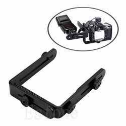 OOTDTY Metal L-shaped Double Dual Bracket/Holder Mount for Canon Camera&Speedlite Flash