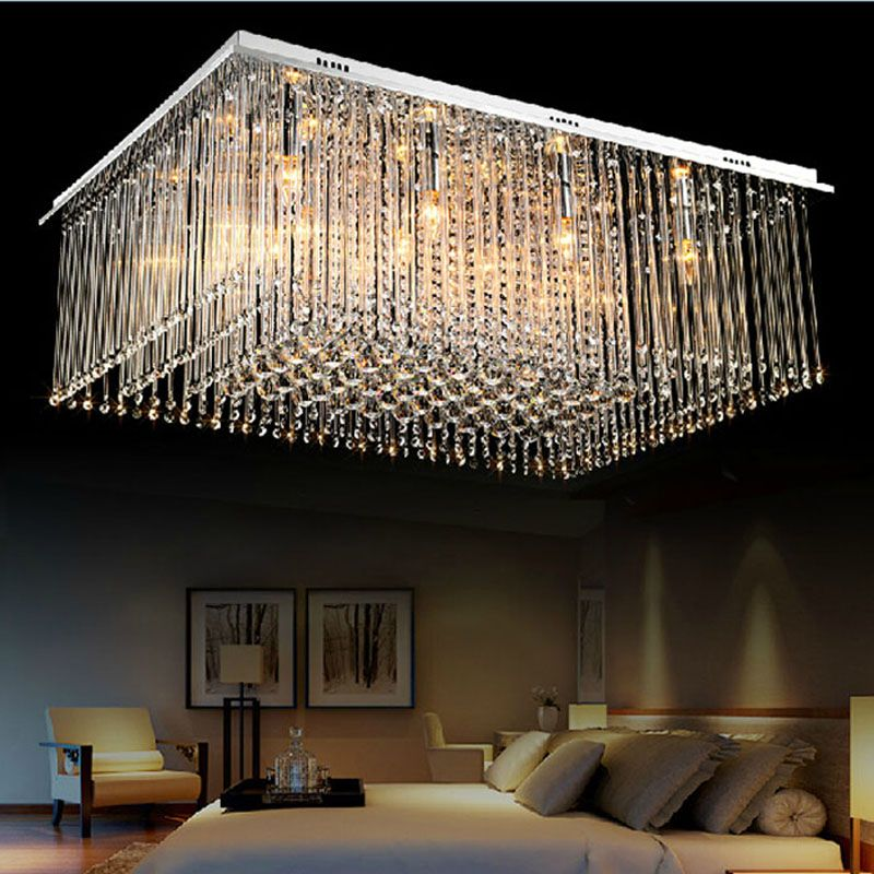 Modern Luxury Large LED Crystal Rectangle Crystal Chandelier Lustre De Crystal Ceiling Lamp Restaurant Home Decorative Fixture