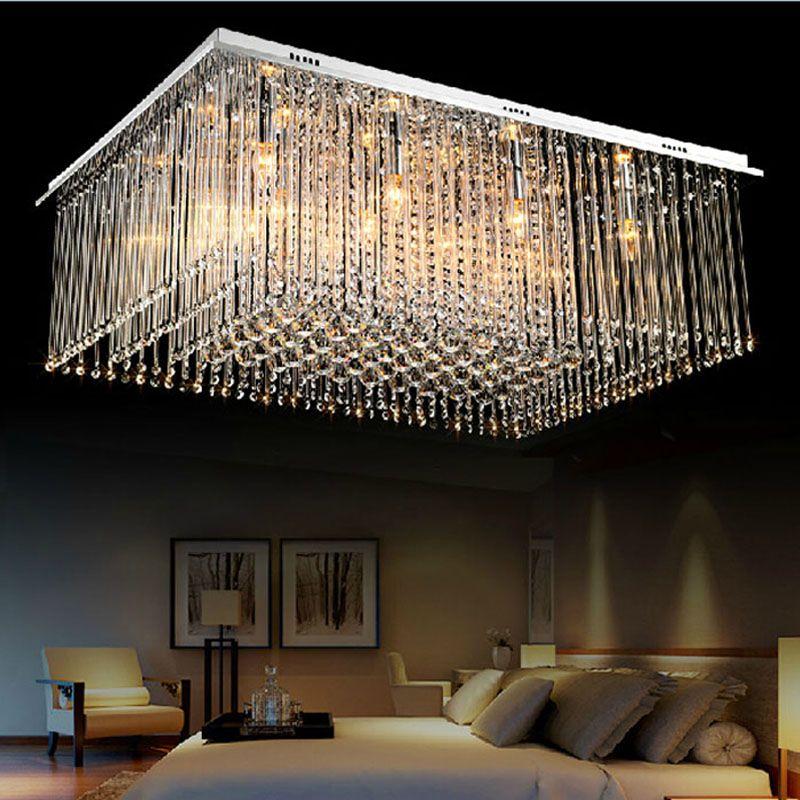 Modern Luxury Large LED Crystal Rectangle Crystal Chandelier Lustre De Crystal Ceiling Lamp Restaurant Home Decorative Fixture