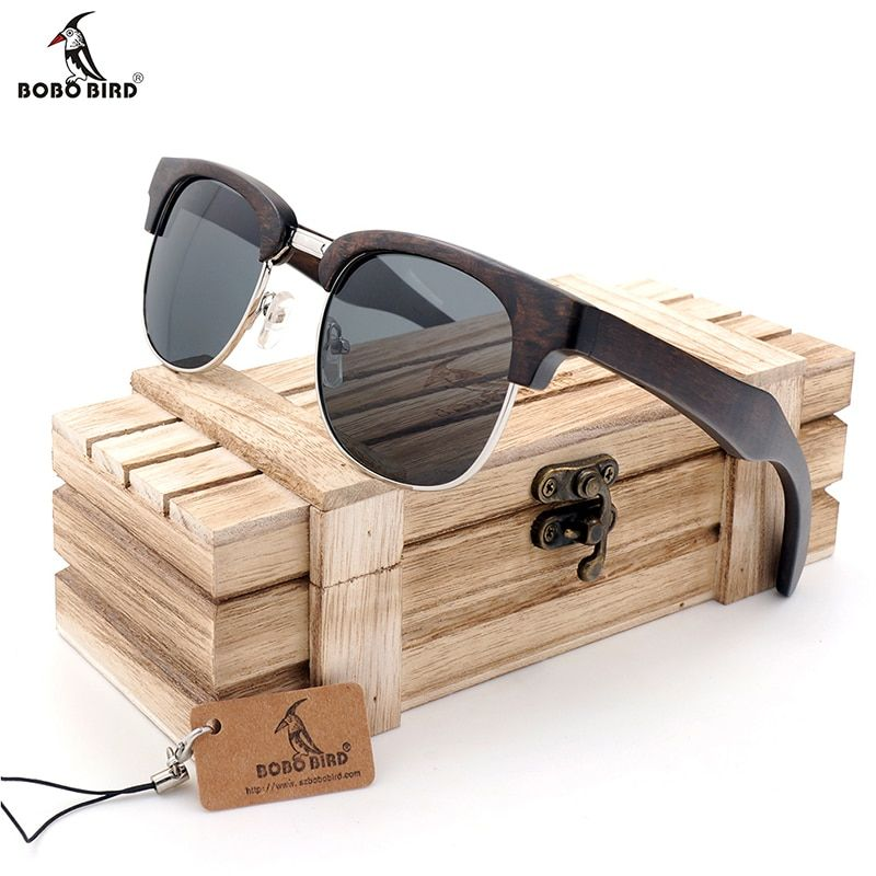 BOBO BIRD Half-Frame Cat Eye Sunglasses Women Men wooden Glasses Summer Style beach Eyewear in gifts Wood box Customize