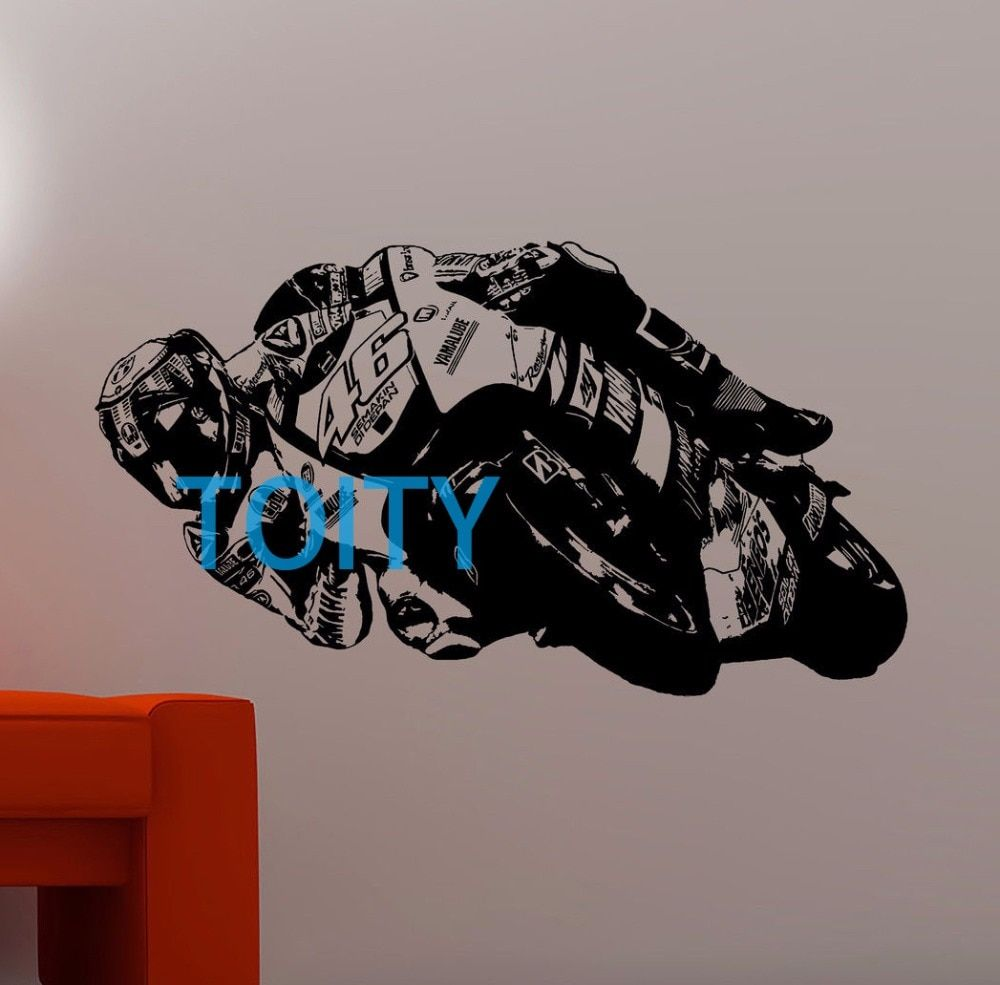 Valentino Rossi Wall Art Sticker Motorcycle Racer MotoGP Decal Boy Room Sport Poster Decor Art Mural S M L