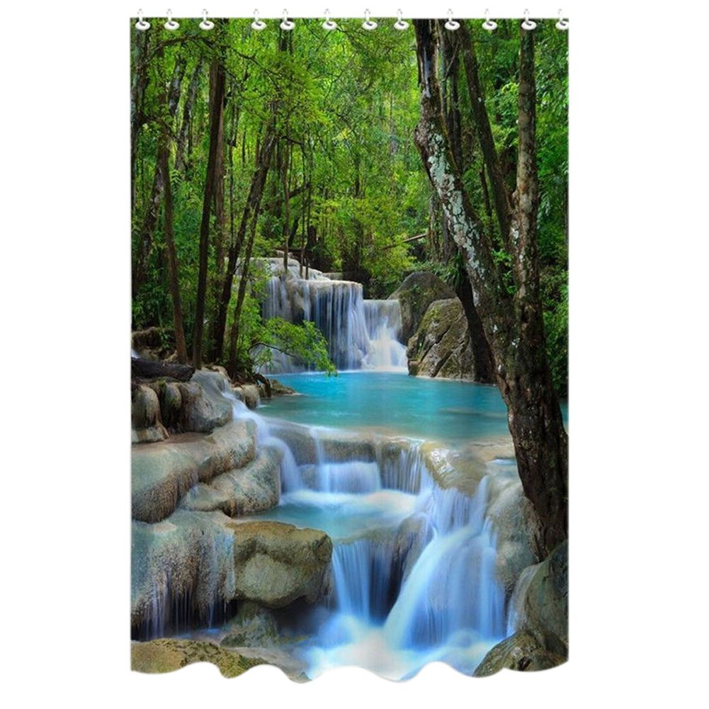 72 <font><b>Inch</b></font> Shower Curtain Waterproof Bath Screens Polyester Fabric Waterfalls Nature Scenery Bathroom Curtain with 12 Hooks