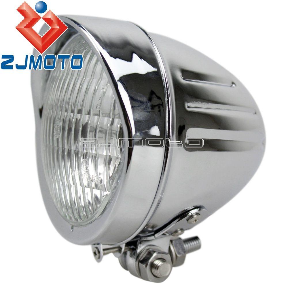 E-Mark E4 H4 12 V 60/55 W Scheinwerfer Moto Chrome Scheinwerfer Für Harley Honda Chopper Suzuki cruiser Motorrad Aluminium Scheinwerfer